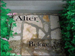 Before & After Picture of a Garden Walkway